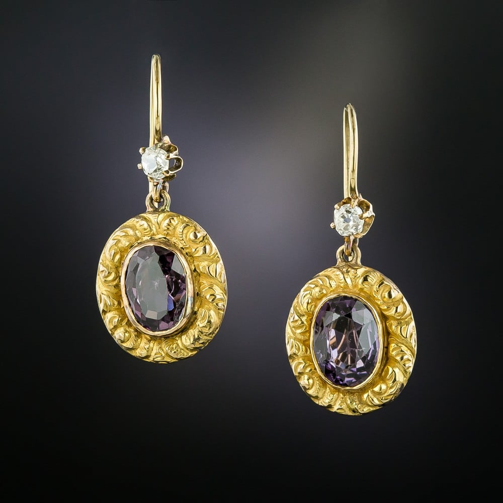 Victorian Purple Spinel and Diamond Earrings.