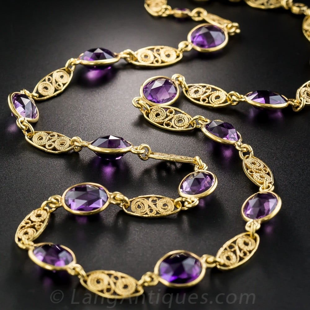 Victorian Style Amethyst and Gold Necklace.