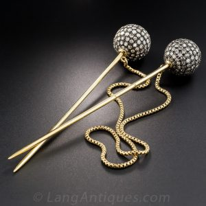 Inseparable - Double Needle Stick Pins with Safety Chain.