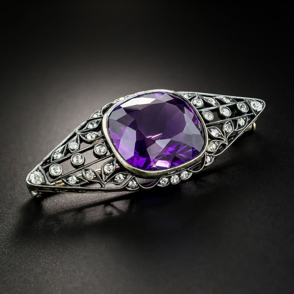 Vintage Russian Amethyst and Diamond Brooch.