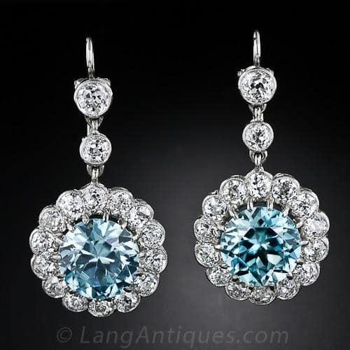 Blue Zircon and Diamond Earrings.