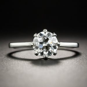 European-Cut Diamond Solitaire.