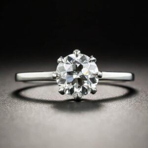 European-Cut Diamond Solitaire.