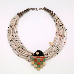 Heishi Shell, Turquoise, Coral, Jet, & Silver Necklace. Mary Coriz Lovato, Santo Doimingo Pueblo. Photo Courtesy of the Smithsonian.
