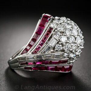 Art Deco - Retro Diamond and Ruby Bombe Cocktail Ring.