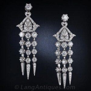 """Diamond Chandelier """"en Pampille"""" Earrings."""