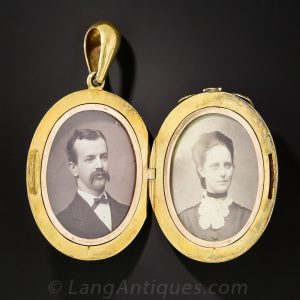 Victorian Ruby and Pearl Locket with Photographs.