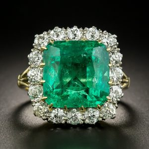 Emerald and Diamond Ring with Typical Emerald Inclusions.